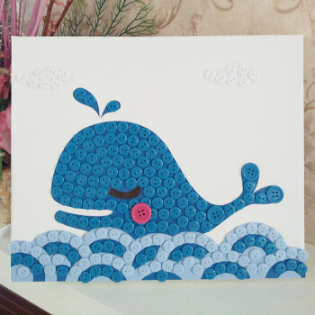 儿童手工制作纽扣画扣子diy材料包动手粘贴画幼儿园子作品 鲸鱼材料包