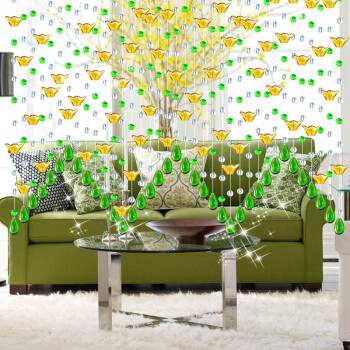 门帘客厅隔断玄关鞋柜窗帘装饰珠帘屏风线吊帘子一米透明色 绿色 金元