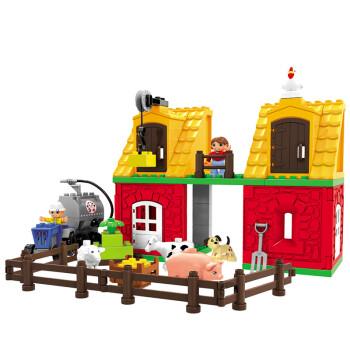 乐高得宝式大颗粒积木玩具拼插 儿童积木益智创意礼物 开心动物园1275