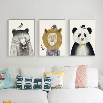 北欧风格动物装饰画三联画创意现代简约客厅挂画卧室壁画餐厅墙画 a爱