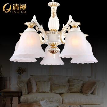 清禄 客厅吊灯 欧式灯具 简约田园餐厅复古法式美式白色玻璃大气卧室图片