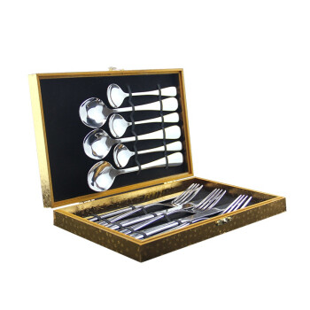 阳光飞歌 不锈钢西餐餐具 牛排刀叉勺礼盒12件套装金色 1048