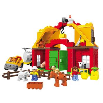 爱玩宝贝乐高式大颗粒积木动物牧场儿童益智拼插玩具欢乐农场1268