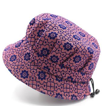 帽子春夏盆帽短檐遮阳帽中老年帽子女妈妈老太太婆婆帽 梅花皮粉色 可