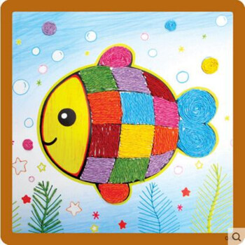 儿童艺术纸绳粘贴画 幼儿园手工制作diy材料创意绳子画 小鱼图片图片