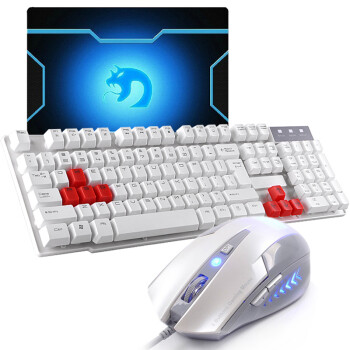 新盟 曼巴蛇鼠标 有线键盘套装 游戏键鼠套装 LOL CF游戏键鼠套 游戏键盘鼠标套装 曼巴蛇白+剑圣悬浮键盘+垫