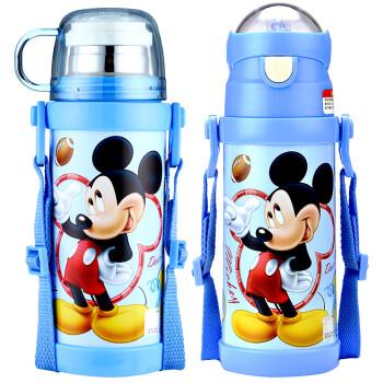 304不锈钢儿童保温杯男女学生吸管双盖水杯宝宝背带保温瓶子 米奇蓝