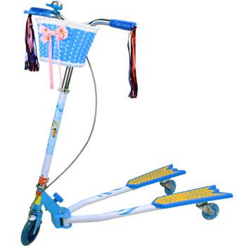 大奇 儿童蛙式滑板车可折叠三轮扭扭车活力车蛙式车闪光滑轮车 4岁以上 蓝色