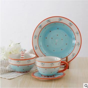 景德镇立体陶瓷餐具套装手绘昆虫浮雕碗卡通米饭碗盘子陶瓷创意杯子礼