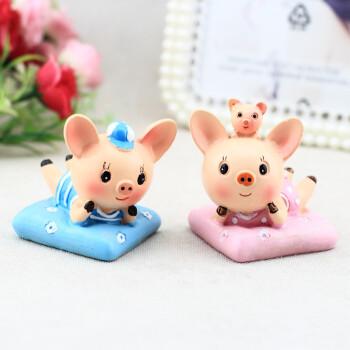 韩国可爱小猪情侣车载摆件一对创意树脂车内饰品汽车玩偶公仔萌萌