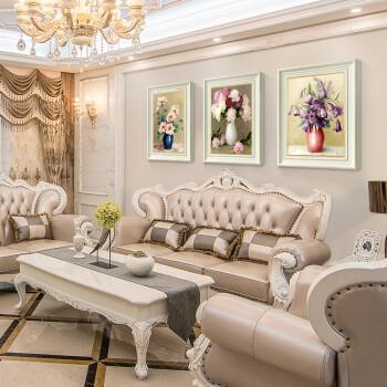 沙发背景墙画餐厅玄关卧室壁画牡丹三联 花语富贵(象牙白框复式装裱图片