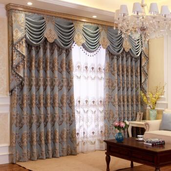 欧式高档大提花客厅定制窗帘成品遮光帘图片