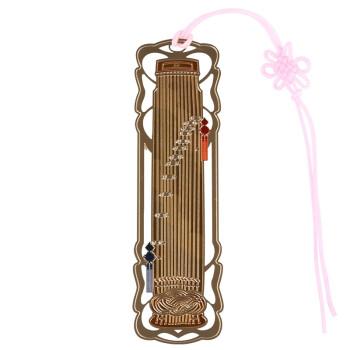 绍泽文化 中国风金属镂空创意书签-古筝 韩国24K金书签创意礼物套装