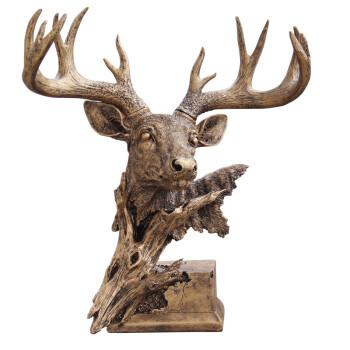 尚凡礼品 摆件 创意礼物 工艺品 复古装饰品 办公室招财 欧式鹿头 新年 圣诞 礼物 复古金色