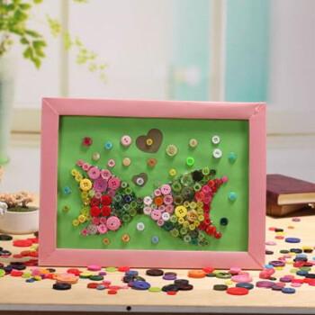 纽扣画儿童贴画幼儿手工制作材料包 宝宝diy创意粘贴画3-6岁 接吻鱼