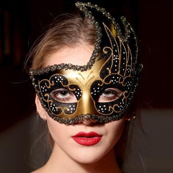 威尼斯面具狂欢节面具化装舞会面具花纹带图案高档火焰面具彩绘