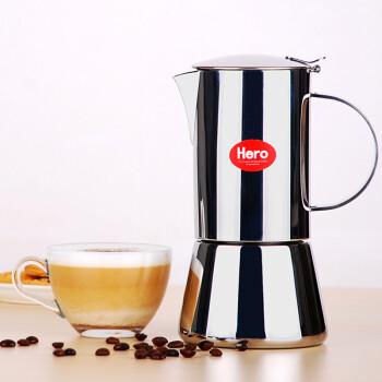 hero摩卡壶 不锈钢咖啡壶 家用意式煮咖啡壶 艾米莉 6杯份