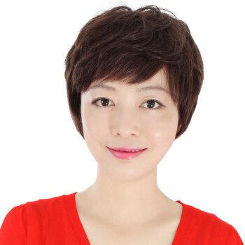 玫瑰雨2015妈妈假发假发女短发女士真发假发中老年气质短卷发假发 真发自然黑色