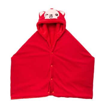 阿狸披肩女冬天韩版潮可爱加厚披肩斗篷卡通毛绒披肩空调毯 阿狸红 约