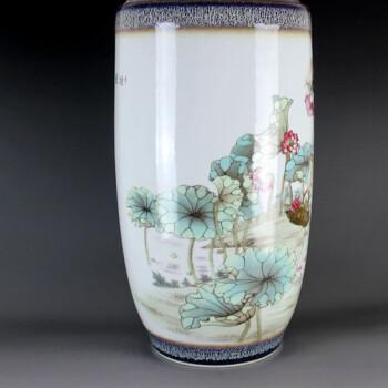 景德镇陶瓷家居时尚摆件手绘花瓶景德镇陶瓷器名人名作余纯坤大师采莲