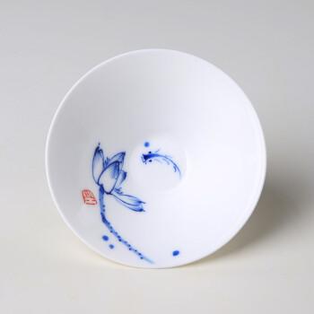 功夫茶杯手绘斗笠陶瓷功夫茶具小茶杯品茗杯子彩绘泡茶盅单杯荷花鱼