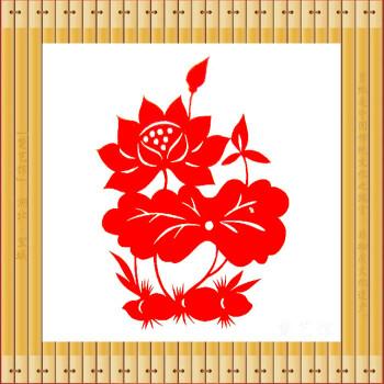 荷花剪纸窗花廉政剪纸画莲藕装饰画玻璃贴儿童教学简单手工作品 红色