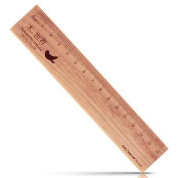 得力6232仿木塑料直尺 精致学生卡通尺15cm 颜色随机