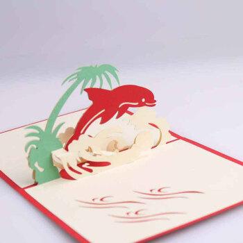 立体贺卡 3d纸雕海豚结婚祝福卡 创意节日剪纸祝愿卡 卡通动物纪念 10