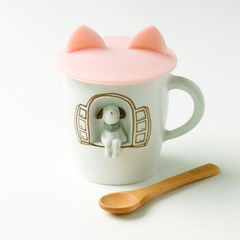 创意手绘3d立体萌物陶瓷水杯马克杯子带盖情侣闺蜜 小狗 送盖 木勺