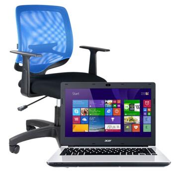 震旦(AURORA)CLF-03GL蓝色时尚电脑椅+宏碁(acer)E5-421G-44FT笔记本电脑(优惠套装)