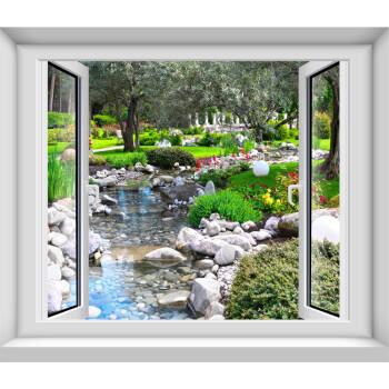 玖一3d卧室仿真假窗户墙贴装饰画 风景森林大海滩宾馆