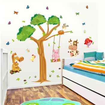 墙贴画室绘画艺术培训班级装饰幼儿园教室布置主题墙 双拼动物荡秋千