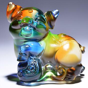 临宝得乐 教室节礼物送老师 创意猪琉璃艺术品摆件 卧室装饰品