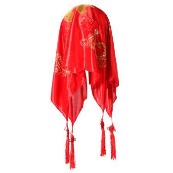 菲寻新娘结婚红盖头喜盖喜帕蒙头巾婚庆大红中式喜字流苏盖头双喜四凤