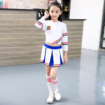 新款儿童啦啦操校园运动会啦啦队服小学生健美操足球表演服装 白 蓝图片