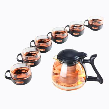 君肴 防烫可分离手柄茶杯 1.2L大容量玻璃茶壶茶具七件 耐高温健康无毒高硼硅玻璃茶具套装