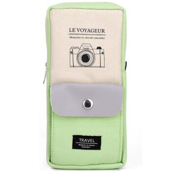 得力(deli)31717 大容量时尚彩色多功能 男女款笔袋 绿色