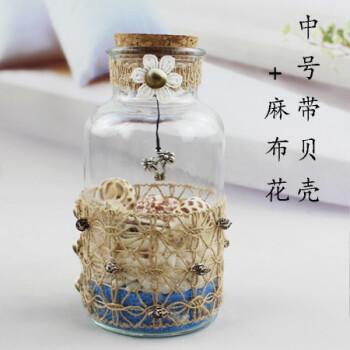 大号玻璃许愿瓶带木塞米螺贝壳带灯沙滩漂流瓶创意小夜灯麻绳装饰图片
