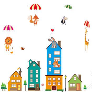 卡通动物城堡墙贴纸幼儿园儿童房布置走廊玻璃双面墙纸贴画a xh楼房建