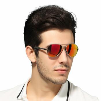 望客wangcl 太阳镜 男女款时尚偏光眼镜 炫彩膜墨镜 蛤蟆镜 可配近视驾驶镜 3026 银框-冰橙片