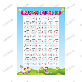 汉字笔画部首幼儿园字母书写墙贴画 36-3汉字偏旁部首(pp背胶贴纸) 特图片