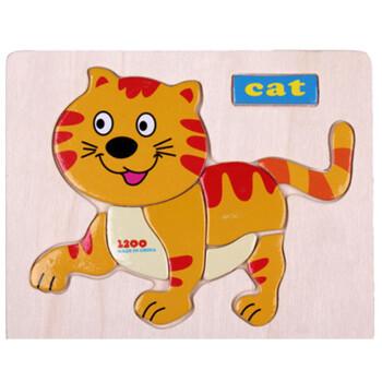 木质动物拼图宝宝幼儿童积木制益智力拼板早教玩具1-2