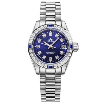 奥威时(Awsky) 女士手表瑞士品牌镶钻时尚316L钢带全自动手表女表机械表 RX926 紫蓝色钻钉面