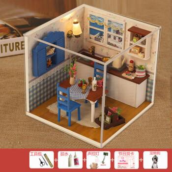 创意礼物玩具 diy小屋手工制作小房子建筑模型别墅男女 温馨午后送