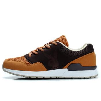 花花公子 跑步鞋运动鞋男反绒时尚男鞋运动休闲板鞋透气低帮鞋子男 DA51042黄棕/咖啡 41