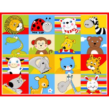 捷成 儿童卡通动物方格地毯儿童组合衣柜配套地毯地垫宜家爬行包邮