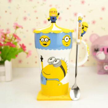 吉满大头杯可爱卡通彩绘陶瓷马克杯情侣大容量水杯子带盖勺垫陶瓷杯