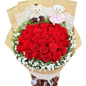 母亲节鲜花速递 鲜花礼盒 爱的承诺 33朵红玫瑰花束 生日蛋糕 鲜花快递北京上海 全国送花 33枝红玫瑰花束 W款 平时价