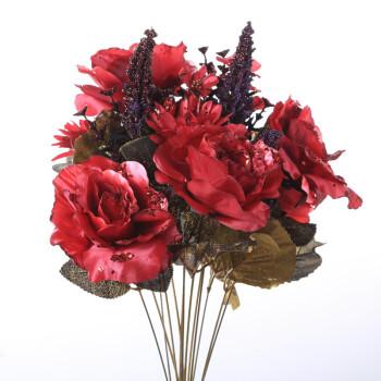 西尚玫瑰红玫瑰仿真花束欧式仿真花绢花假花茶几餐桌花瓶套装花瓶+2束