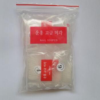 美甲工具进口甲片 无痕甲片透明 自然 全贴 半贴 法式甲片  假指甲片500片一包 自然全贴